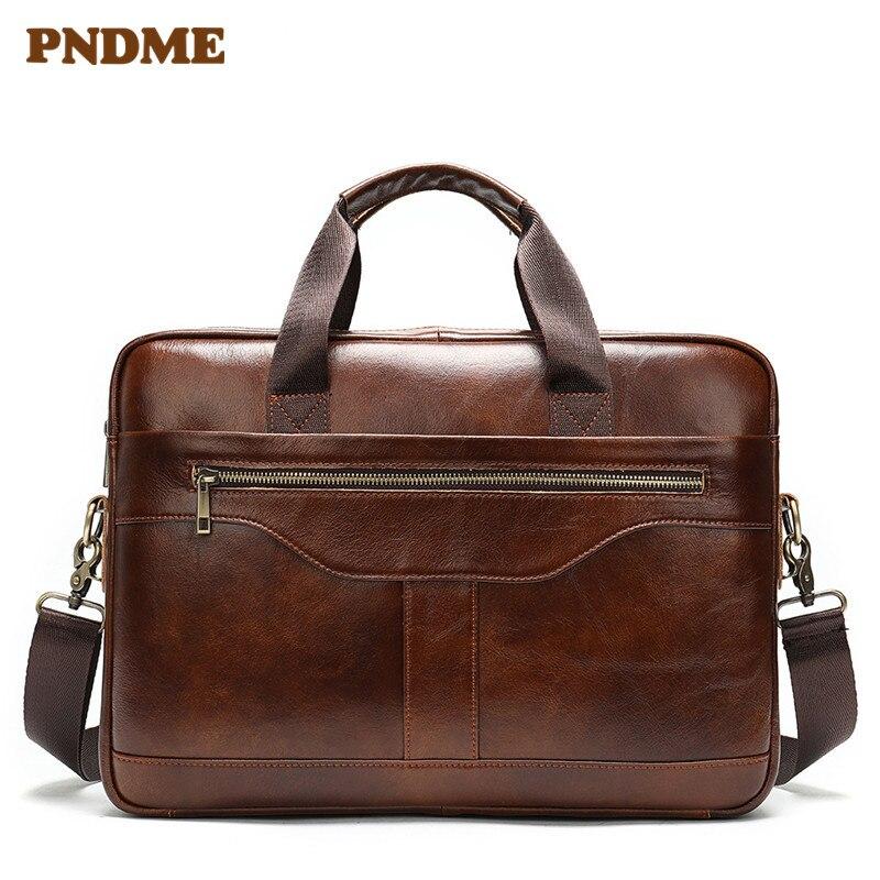 Brown men's business leather briefcase office handbag