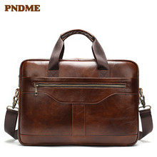 Brown men's business leather briefcase office handbag zuominshi brown 38