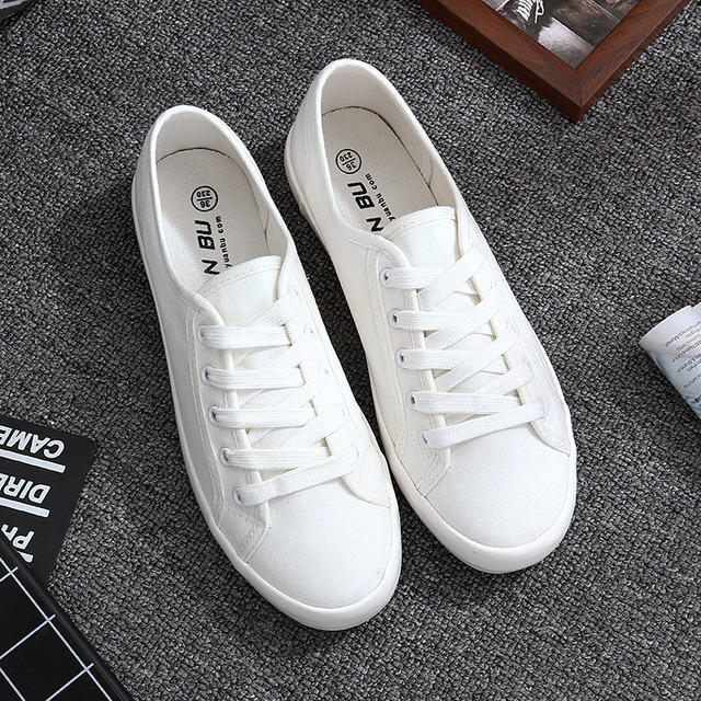 White Canvas Shoes Sports Tennis Women Shoes Autumn Flat Oxford Shoes Woman Female Wild Literary Shoes Students Sneakers Walking