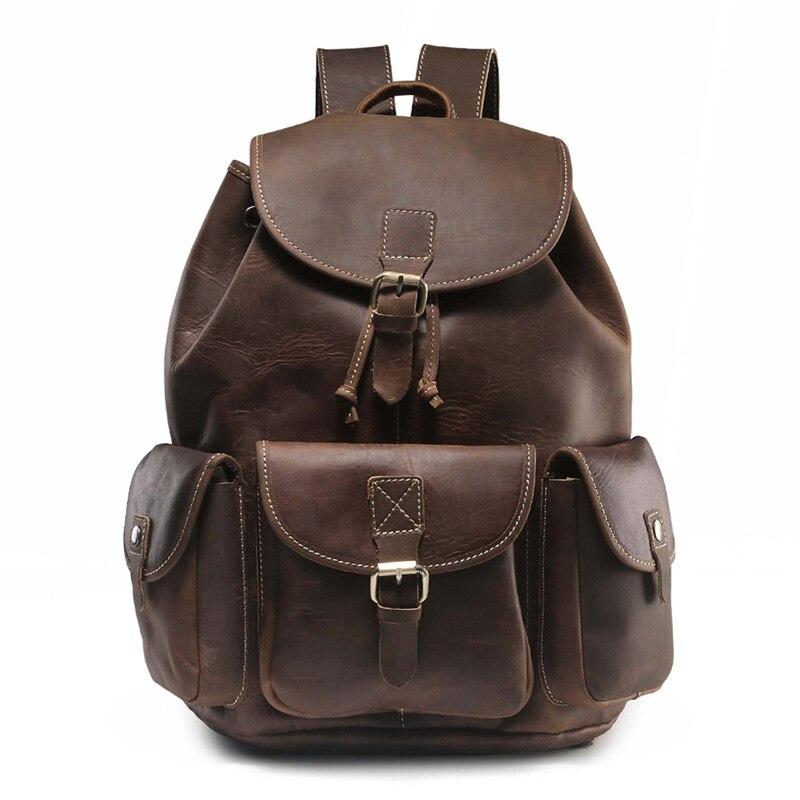 Crazy Horse skóry męska plecak w stylu Vintage, Mochila Feminina męskie torby podróżne pojemna na laptop plecak mężczyzna plecak J20 w Plecaki od Bagaże i torby na  Grupa 1