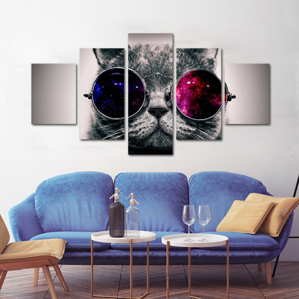 Unframed HD Print 5 Canvas Art Painting Cat With Dlasse Living Room Decoration Spray Painting Mural Unframed Free Shipping