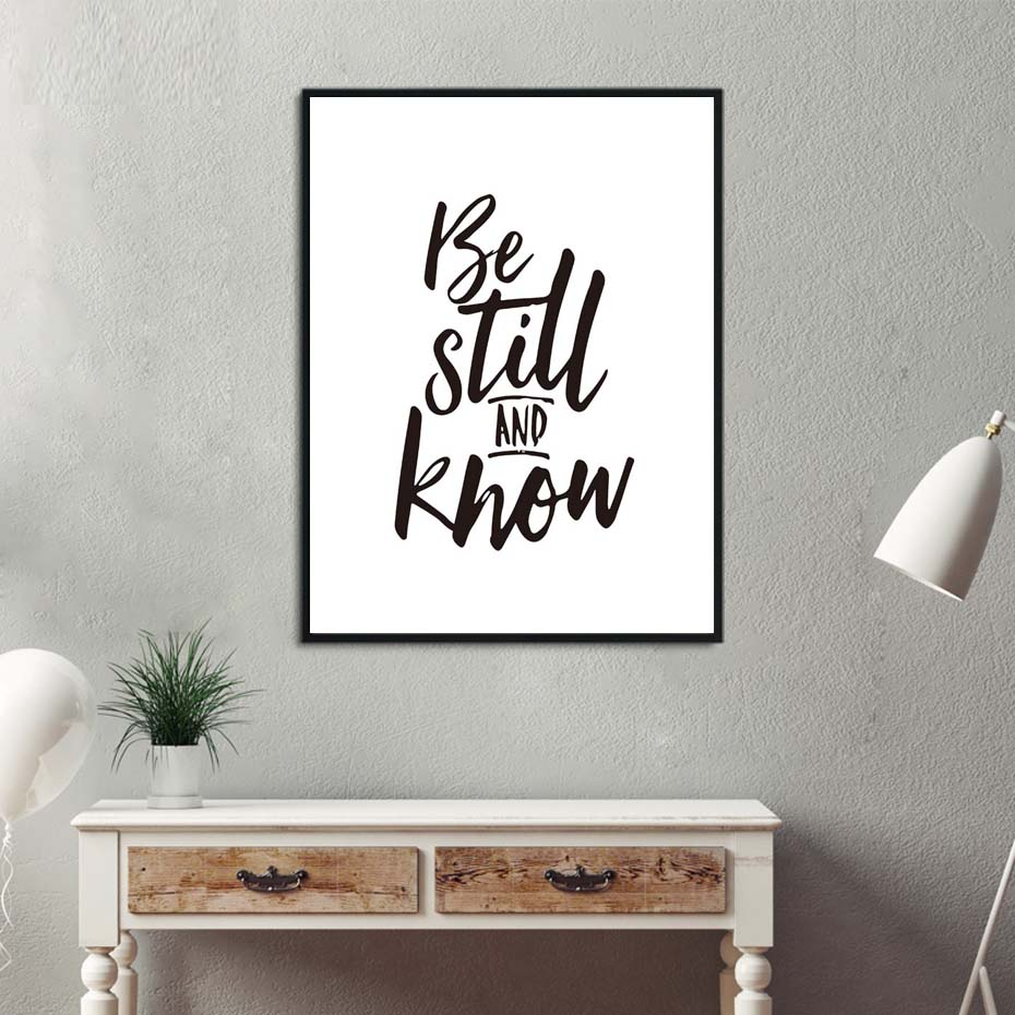 Be Still And Know Inspirational Quote Print Poster Modern Minimalist Bedroom Painting Ho ...
