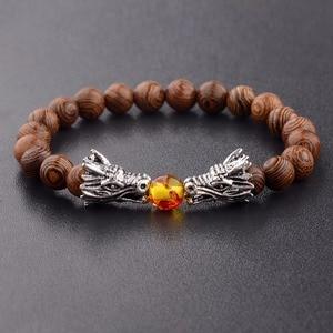 Image 5 - Bransoletka z koralików drewnianych s medytacja złoty i srebrny kolor bransoletka z koralików smoka kobiety biżuteria modlitewna joga Dropshipping