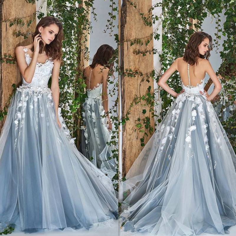 Princess Flowers Tulle Scoop Neckline A-line Wedding Dress With Lace Applique Illusion Tulle Back Sweep Train Bridal Dress