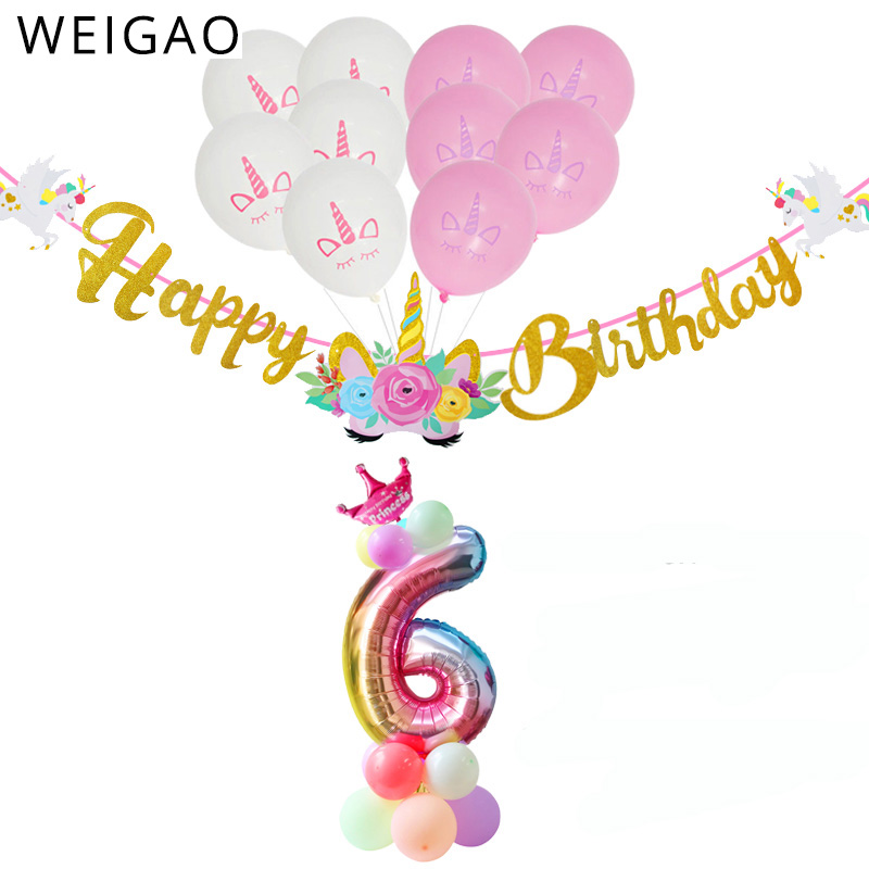 WEIGAO 0-9 Rainbow Unicorn Party Banner and Balloons Kit Glitter Happy Birthday Banner Paper Garland with Number Balloon Decor
