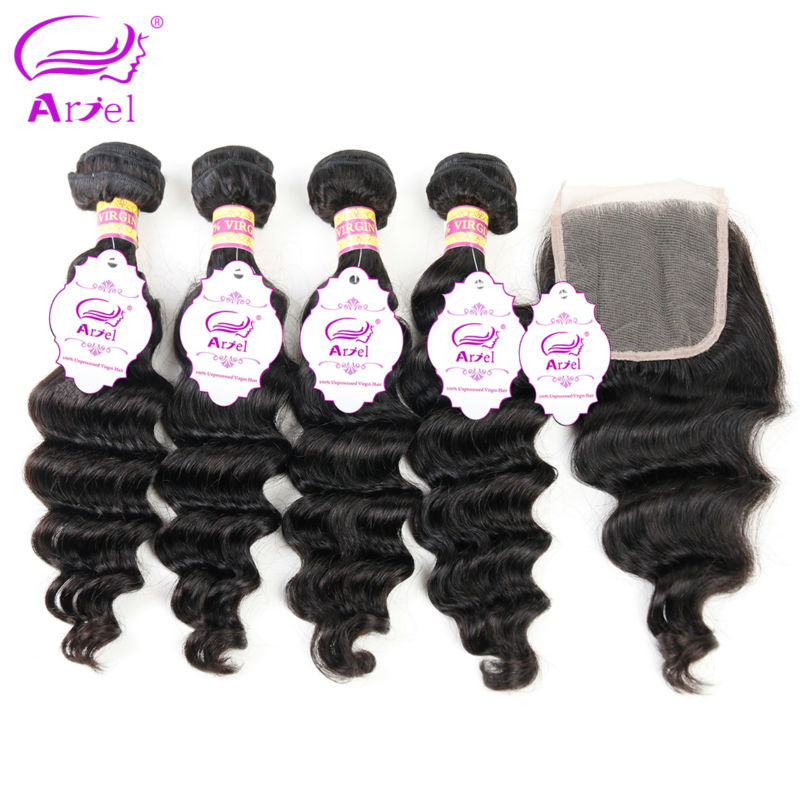 Ariel Peruvian Loose Wave Bundles With Closure Natural Color Non Remy Human Hair 4 Bundles Peruvian
