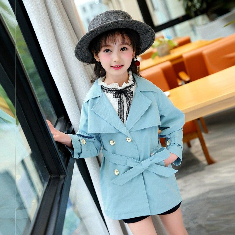 Coupe-vent vestes pour filles 2018 Style coréen bébé Fille Trench Fille Long Trench manteaux adolescent 8 10 Kinder Meisjes Lang Jassen