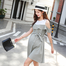 944e01ae20c 2260  Stylish Ruffle Strapless Ties Waist Maternity Dress 2018 Summer  Korean Fashion Clothes for Pregnant