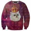 2016 New Arrival 3D Printed sweatshirts Cat Animal Digital Printing Casual Novelty Style sweatshirt Men/Women
