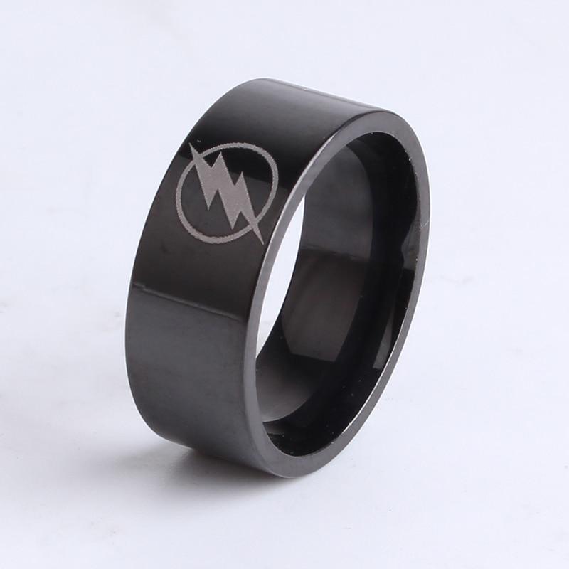 8mm Black Flat Thor Lightning 316L Stainless Steel finger rings for women wholesale jewelry