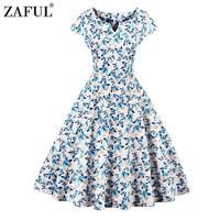 ZAFUL Brand 2017 Vintage Butterfly Print Women Dress Retro Robe Rockabilly Feminino Vestidos Hepburn 50s Tunic