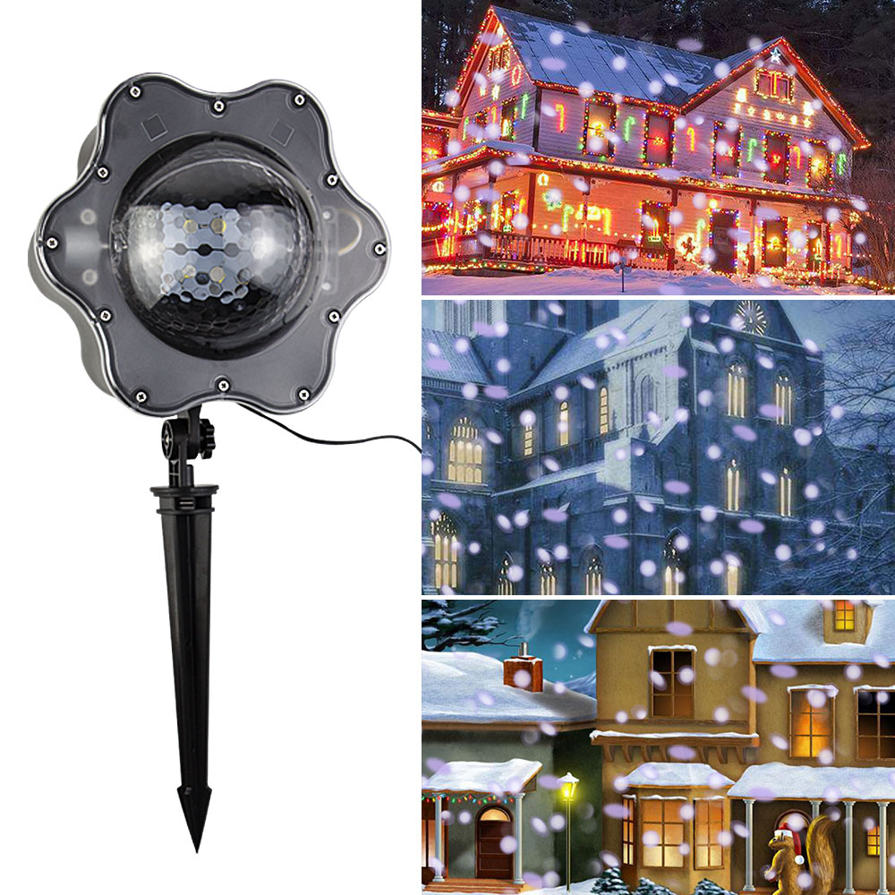 New Arrival 3D Waterproof Snowflakes Projection Light White Christmas Lights Outdoor Decoration For New Year Navidad Halloween