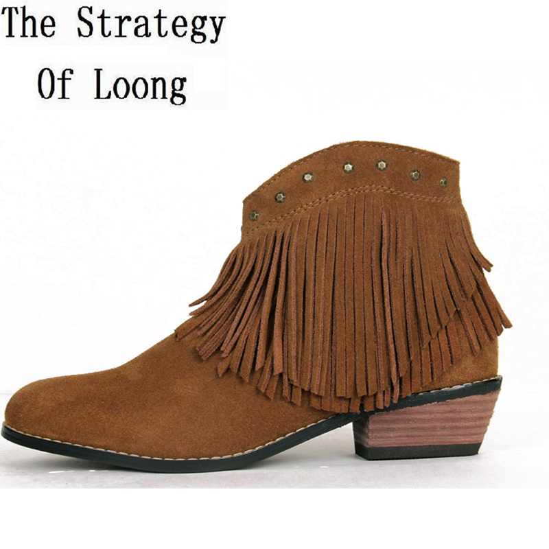 Thick Mid Heel Genuine Leather Tassel Rivets Side Zipper Winter Women Western Style Ankle Boots Fringe Short Boots 35-40 SXQ0916 martin new winter with thick british style short canister female fall side zipper boots