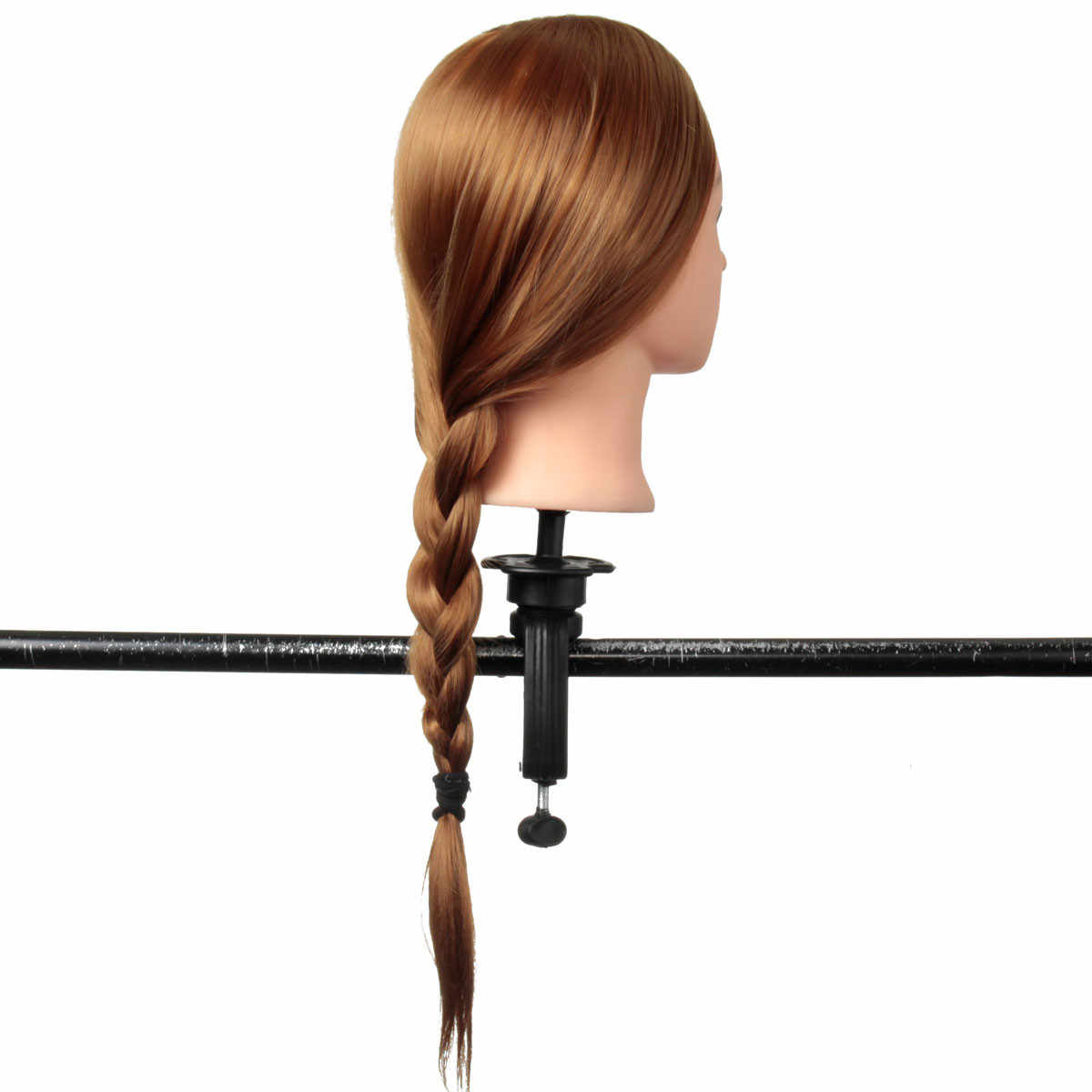24 inch 30% Real Natural Hair Training Mannequin Head With Stand Holder For Hairstyles Professional Practice Wig Head Women