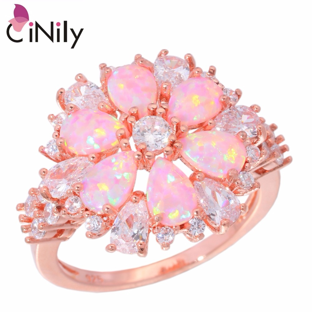 CiNily Lavish Large Pink Fire Opal Stone Rings Rose Gold Color White CZ Crystal Stone Flower Flora Party Jewelry Gift Woman Girl