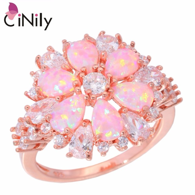 CiNily Luxury Big Pink Fire Opal Stone Flower Ring Rose Gold Color Clean White C