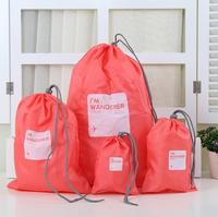 4Pcs Set Waterproof Travel Tote Clothing Storage Drawstring Bags Luggage Sundries Tidy Bag Rope Bundle Pocket