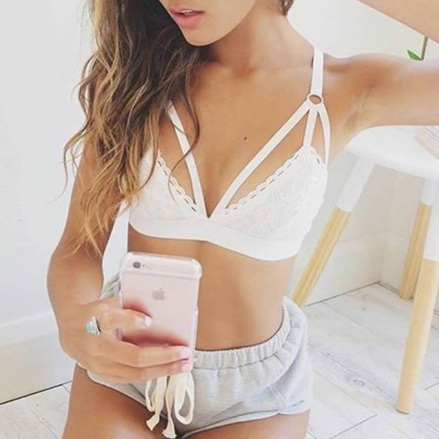 466b107aab4e5 fashion hot Lace Deep V Sexy Bra Top Lingerie different size hollow  breathable floral black white bralette High Quality