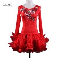 Latin Dance Dress Women Salsa Samba Dance Costumes Flapper Dress D339 Red Long Sleeve Sheer Hem