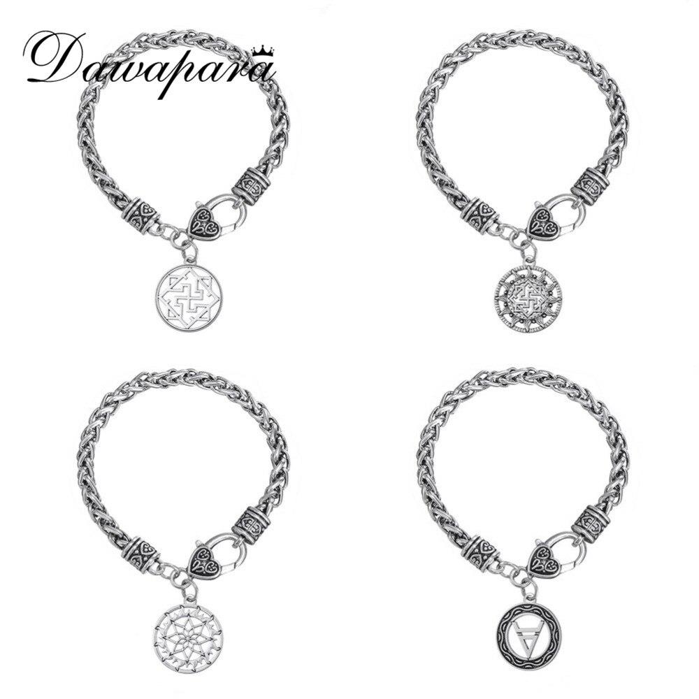 Dwapara Valkyrie Symbol Alatyr-sköld Gud Veles Slavisk charm bred kedjelänk bohemia armband kedja män snap smycken