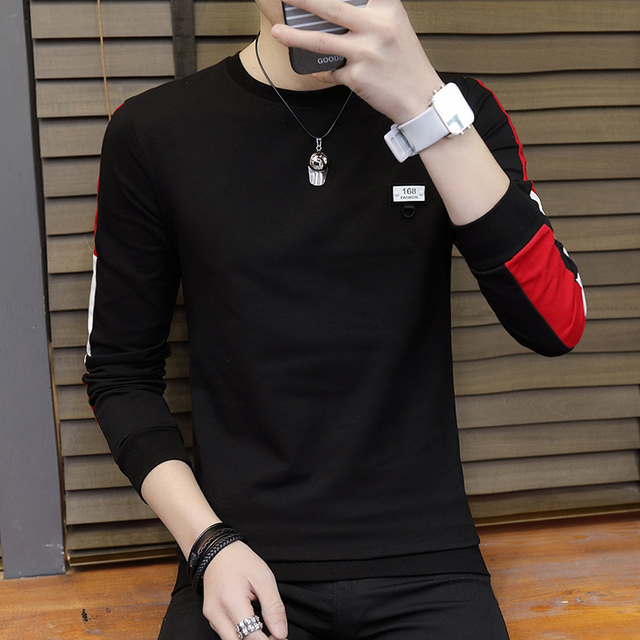 f1c24ad6f38 Long-sleeved T-shirt men s thin section round neck Korean version of the  loose trend students new warm bottoming shirt men