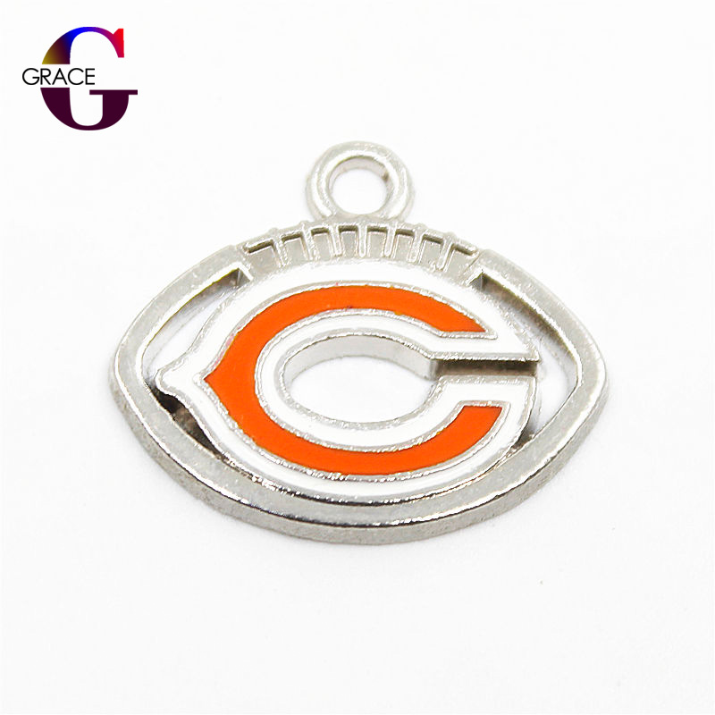 Chicago Bears Football Sport Team Charms Floating Charms Hanging Dangle Charms For Women Necklace Bracelet pendant DIY Jewelry ...