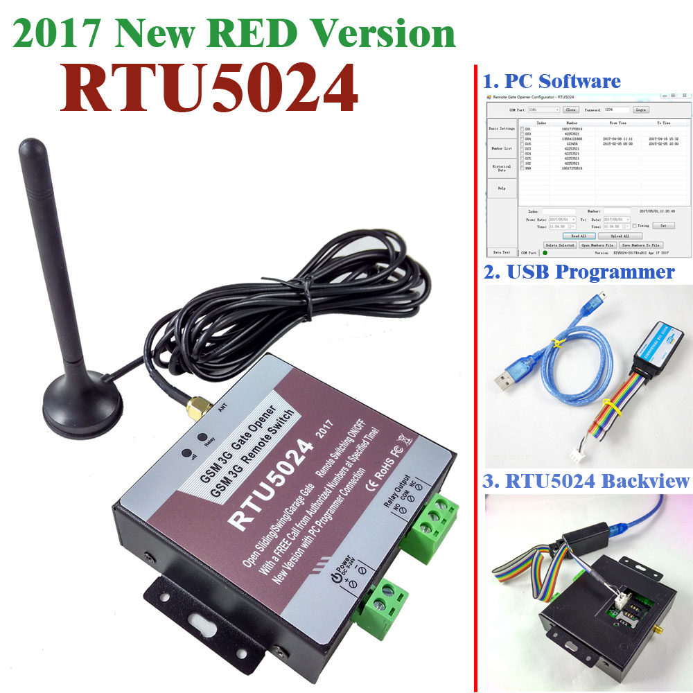 2017 New version RTU5024 gsm relay sms call remote controller gsm gate opener switch USB pc programmer and software included автоматический открыватель двери new rtu5025 gsm sms gsm