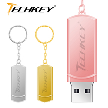 new usb flash drive 64GB TECHKEY pen drive 32GB metal small U Disk pendrive USB 2.0  memoria cel usb stick memory stick gift
