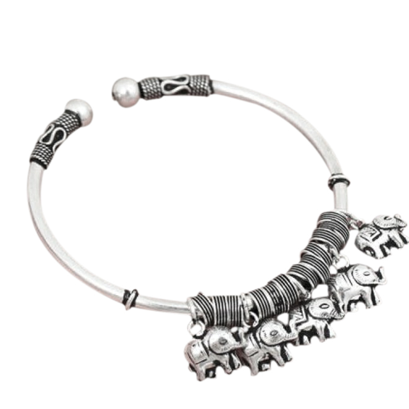Real Solid 925 Sterling Silver Jewelry With Elephant Charms Vintage Retro Bangkok Handmade Bangle Bracelet Opening Adjustable