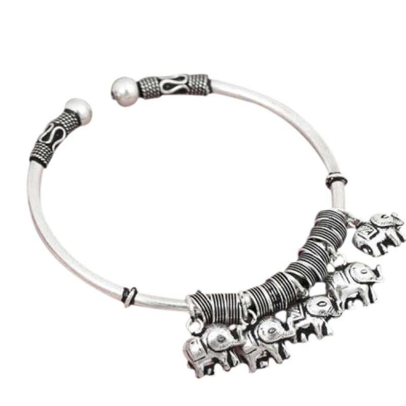 Real Solid 925 Sterling Silver Jewelry With Elephant Charms Vintage Retro Bangkok Handmade Bangle Bracelet Opening Adjustable yoona fan meeting bangkok
