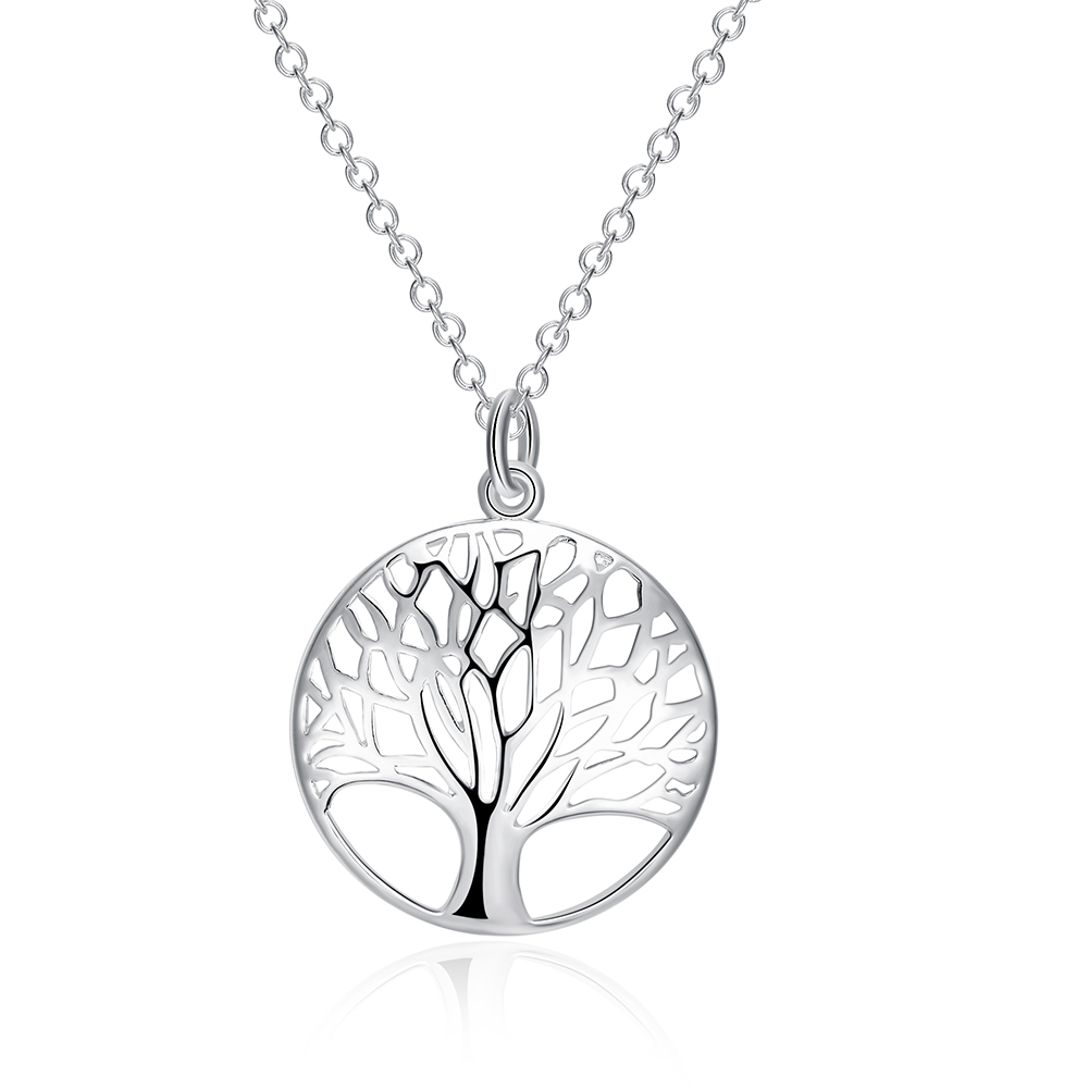 New Arrival Vintage Women Casual Collar Necklace Retro Hollow Tree Shape Pendant 925 Sterling Silver Jewelry For Ladies