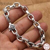 New Buddha Bracelet Men Solid 925 Sterling Silver mantra Bracelets For Women High Polished Retro Black Handmade Jewelry For Male