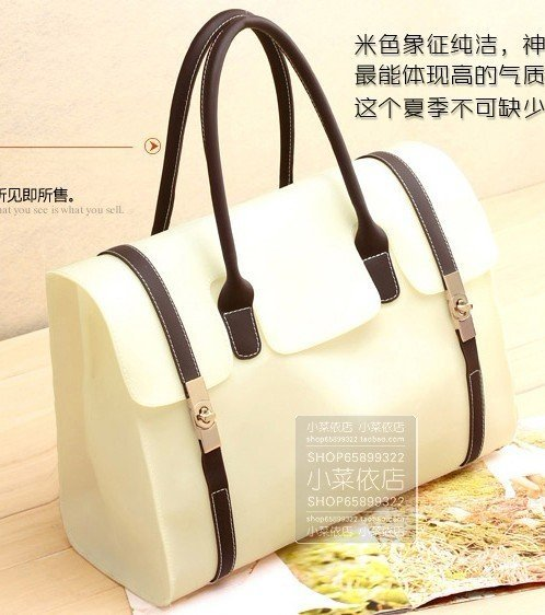 2012 new,free shipping transparent bag,retro jelly packets,ladies' beach bag,candy color,korea bag,beige