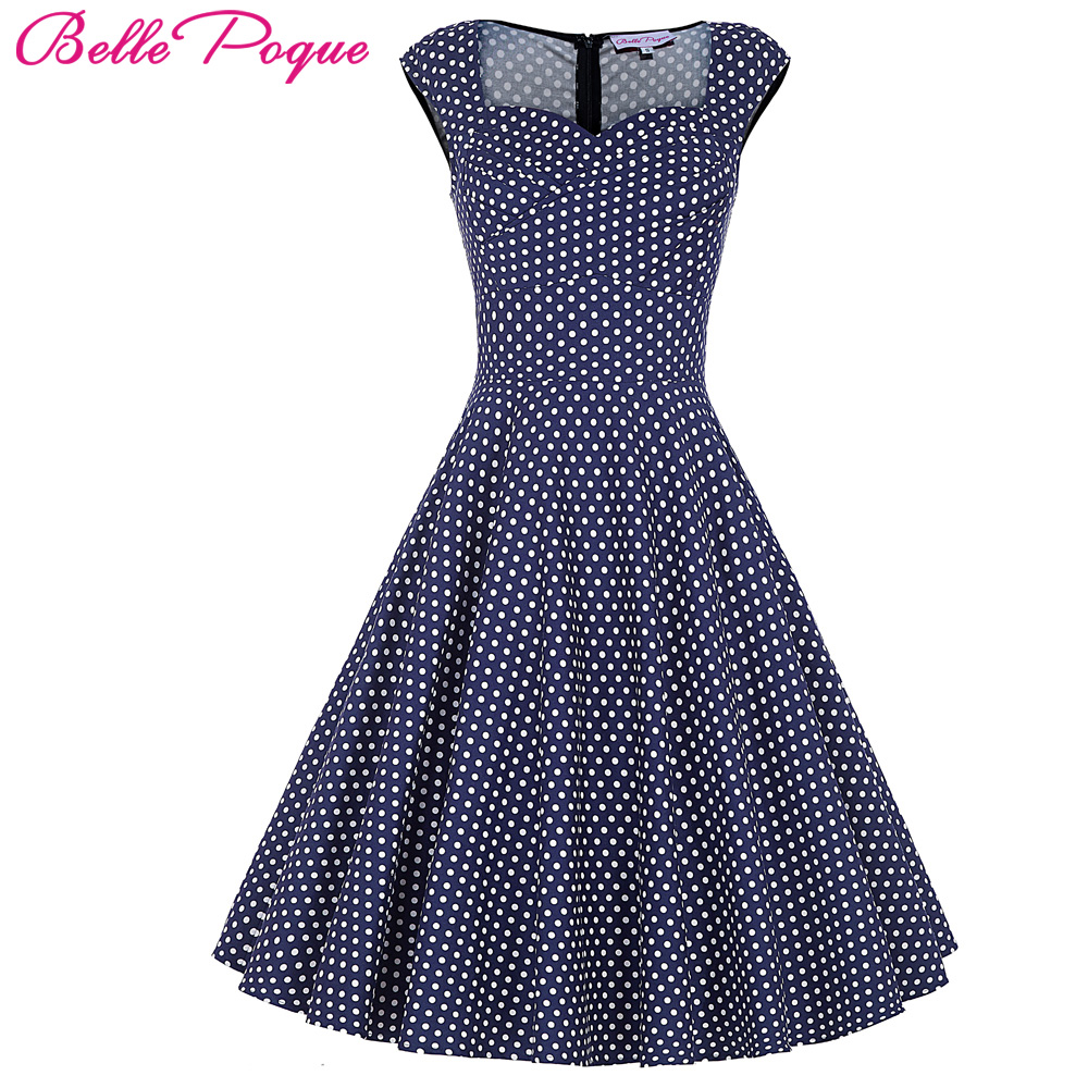 Belle Poque Womens Summer dresses 2017 Summer Casual Party Dress Polka Dot Robe Vintage 50s 60s Retro Floral Dresses Clothing