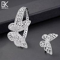 GODKI Luxury Butterfly Bangle Ring Sets Fashion Dubai Silver Bridal Jewelry Sets For Women Wedding brincos para as mulheres 2018