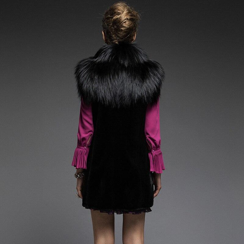 Manteau Long Comme Un Nouveau Et Automne 2018 Le Taille Mme Gilet Vison Fourrure De Printemps Dans Noir Renard Zzwqpdqvf