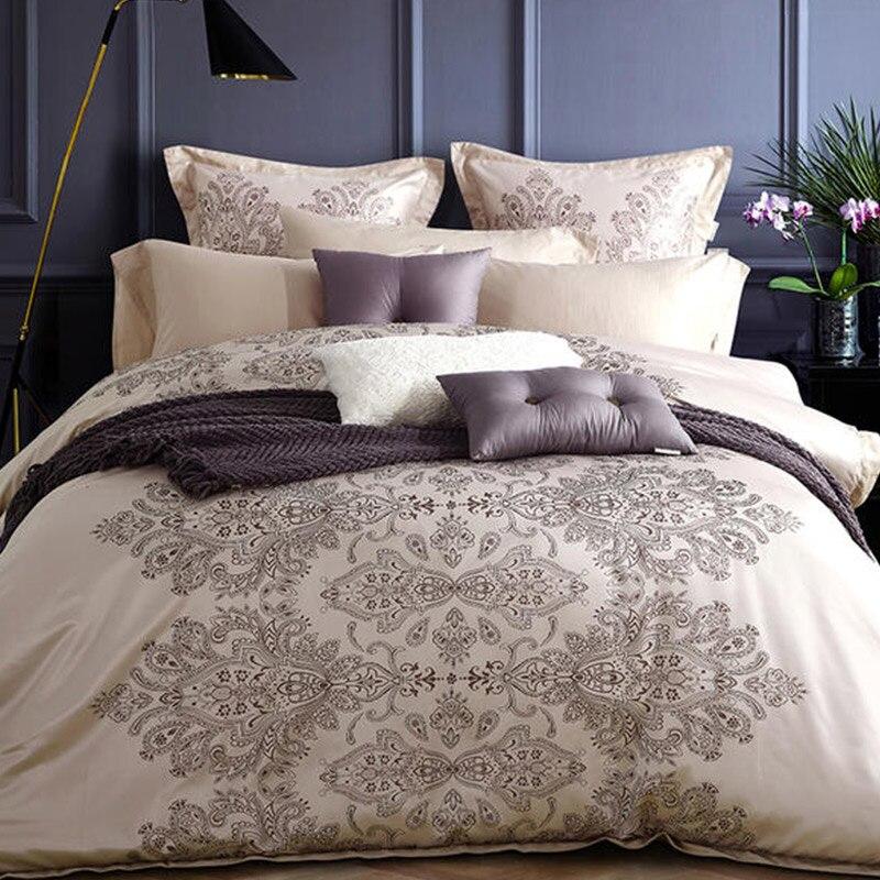 Luxury satin jacquard bedding set RUIYEE comfortable bed set king extra large duvet cover sheets pillowcase