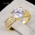 Newest Arrival Yellow Gold Plated Female Anel 4 Claws Square Cut Zircon CZ Diamond Engagement Rings For Women Girlfriend Gift