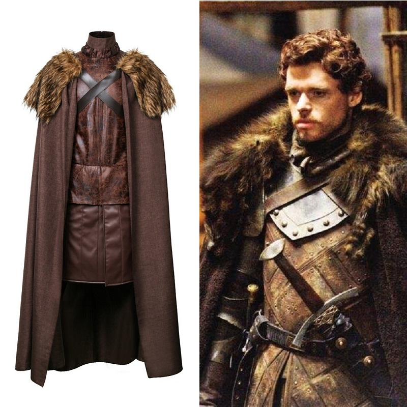 Game of Thrones robb stark North King Jon Snow Medival Knight Cloak Cosplay Costume Leather Battle
