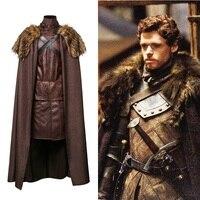 Game of Thrones robb stark North King Jon Snow Medival Knight Cloak Cosplay Costume Leather Battle Armor Suit Men Halloween
