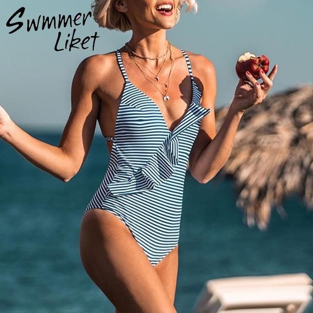 c168854990 ... High cut bathing suit women Monokini Cheap. Cheap Bandage sexy bodysuit  Striped one-piece suits Ruffled swimsuit female V-neck bikini