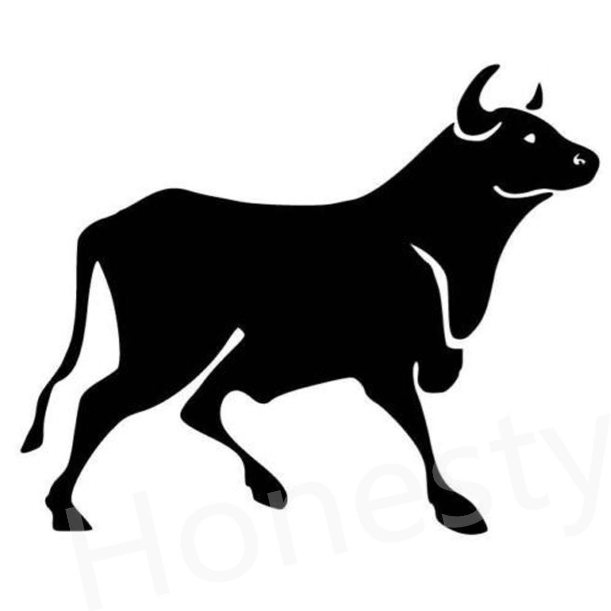 Bull Standing Silhouette Car Wall Home Glass Window Door Auto Car Truck Laptop Black Animal Vinyl Decal Sticker Decor Gift