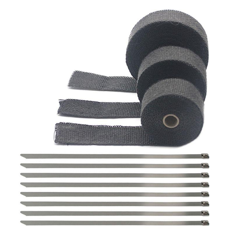 Rouleau de bandeau thermique d'échappement de 5cm * 5M 10M 15M pour la bande de bouclier thermique de fibre de verre de moto avec des liens inoxydables