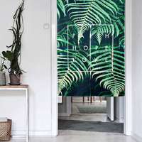 Nordic Shading Green Leaf Door Window Screen Hanging Curtain Home Decoration Bedroom Living Study Room Kitchen
