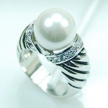 F709 blanco Perla Mujeres de La Moda 925 Anillo de Plata Tamaño 6 7 8 9 10