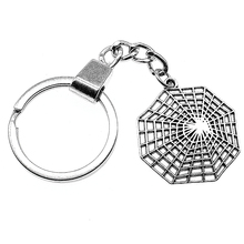 31x28mm Spider Cobweb Keychain Men Jewelry New Fashion Keychain Party Gift Dropshipping Jewellery 2019 1pc fashion jewelry mini keychain spider keychain spider web keychain silver dres s elegant diy handmade