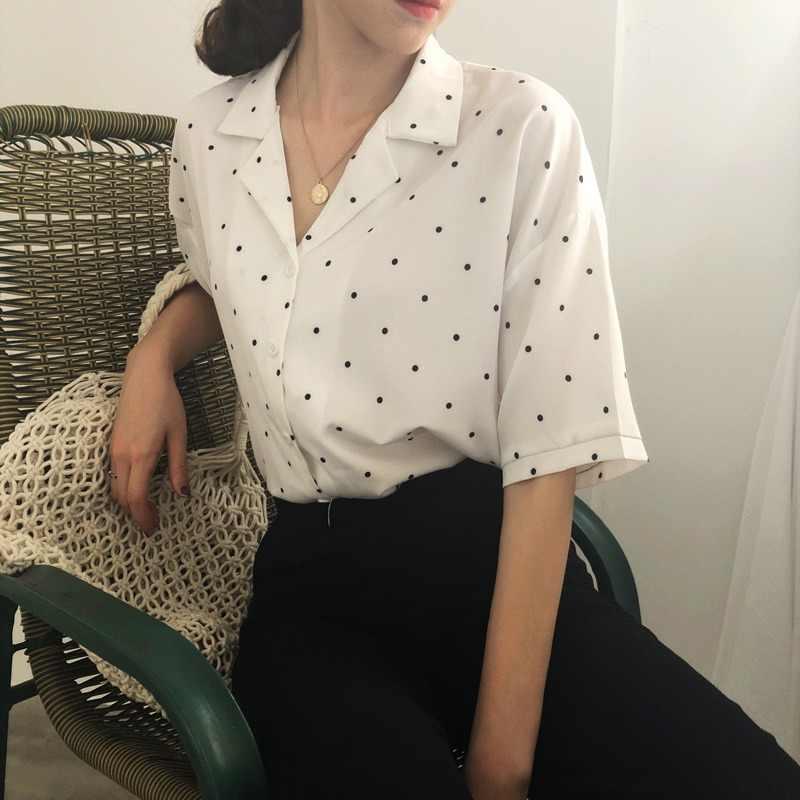 Moda kadınlar Polka Dot yaz kısa kollu bluz kadın Turn Down yaka Casual kısa üstleri