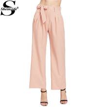 Sheinside Wide Leg Palazzo Pants Elegant Pink Women Self Bow Tie High Waist Pants 2017 Summer Casual Solid Slim Work Lady Pants