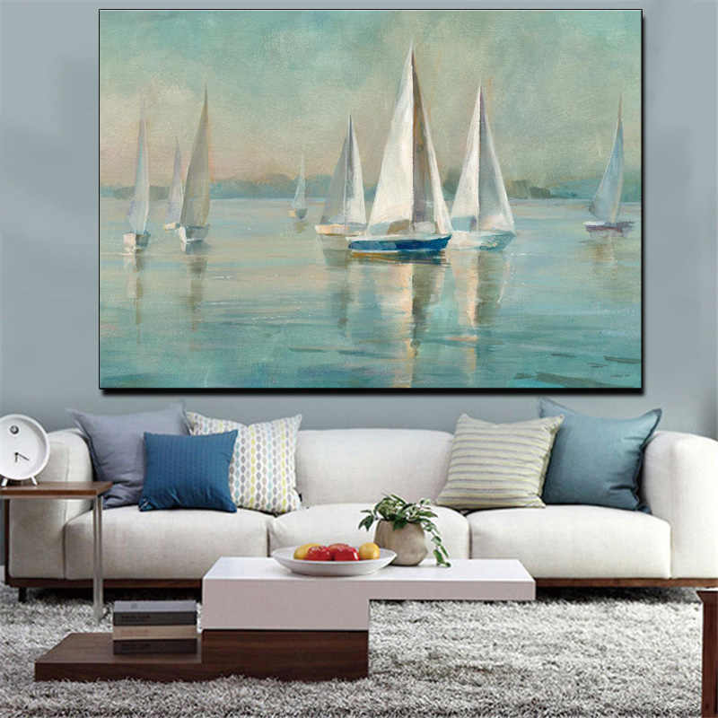 Drop-shipping Modern Wall Art Canvas Seascape Poster Nordic Wall Picture for Living Room Boat Sea Canvas Painting Unframed