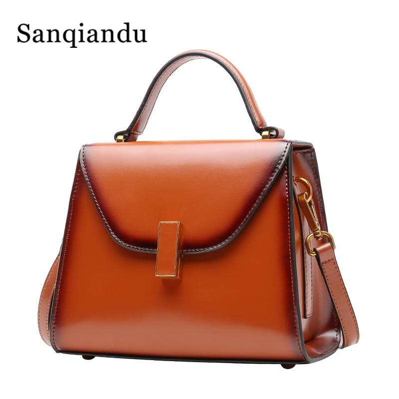 37ed1bfa097c 2019 известный бренд Женская сумка Ретро масло воск кожаная сумка женская  сумка модная маленькая сумка на